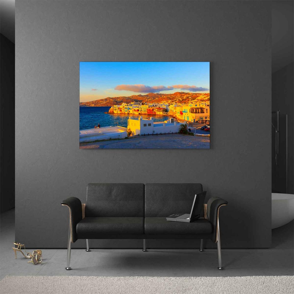 Glasbild Kreta Sonnenuntergang