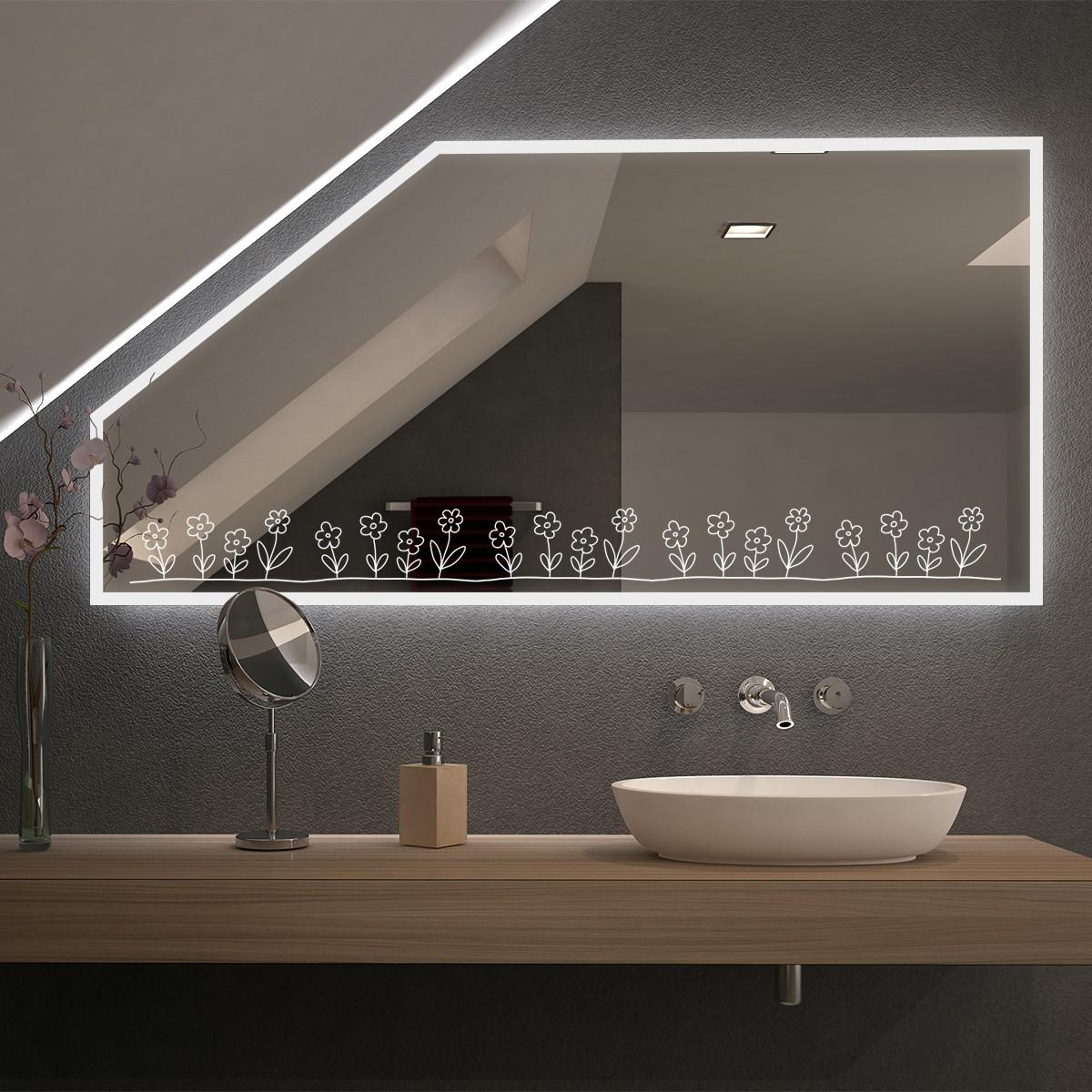 Spiegel für Dachschrägen mit LED Beleuchtung Blom