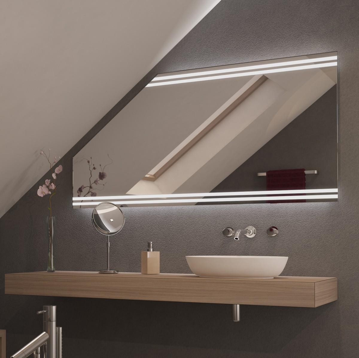 Spiegel für Dachschrägen mit LED Beleuchtung Duso