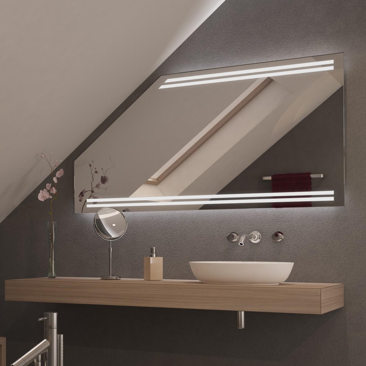 Spiegel für Dachschrägen mit LED Beleuchtung Mola