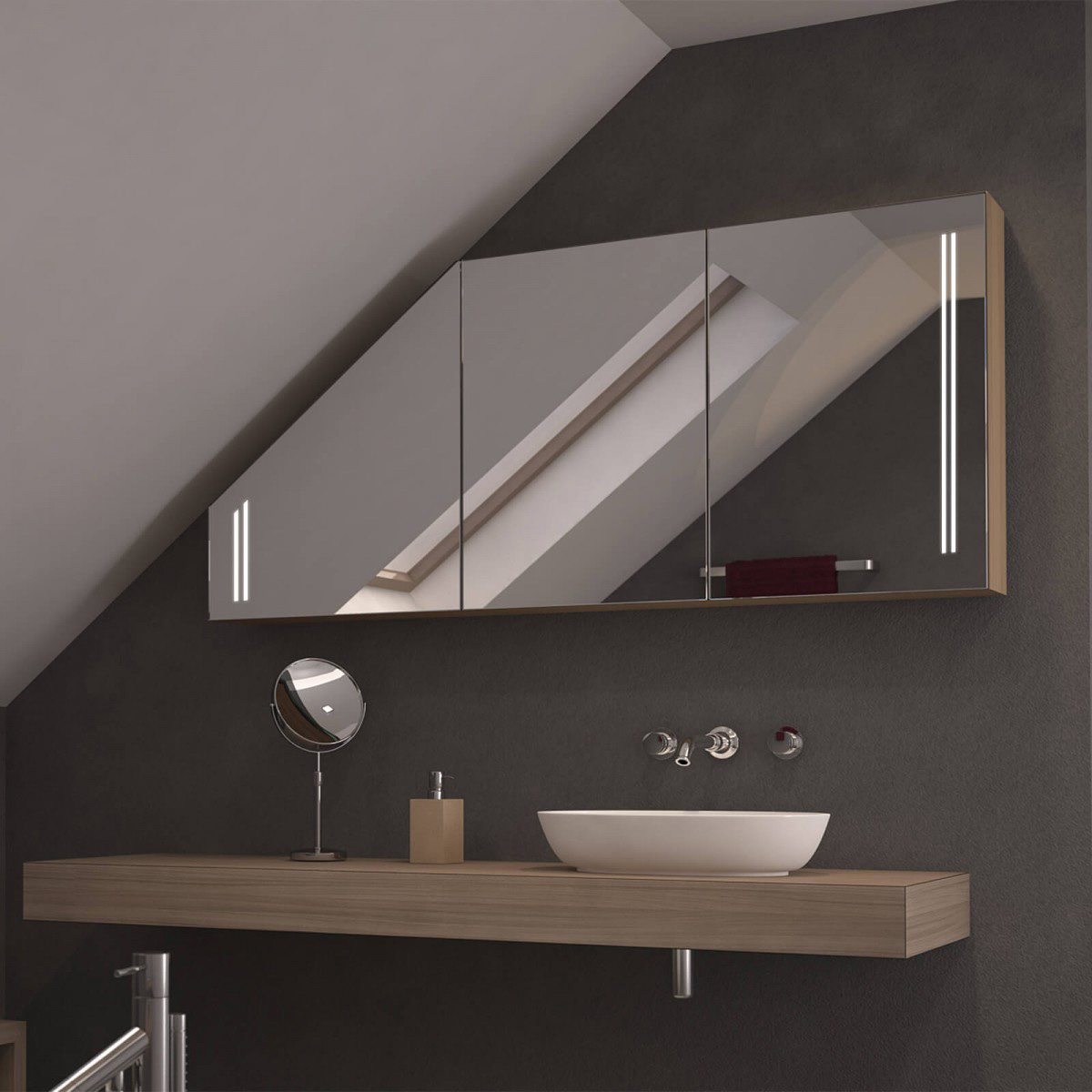 Dachschrägen-Spiegelschrank Dubelo