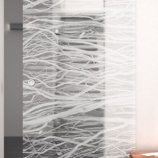Glas-Schiebetür gelasert mit Motiv Äste – Bild 2