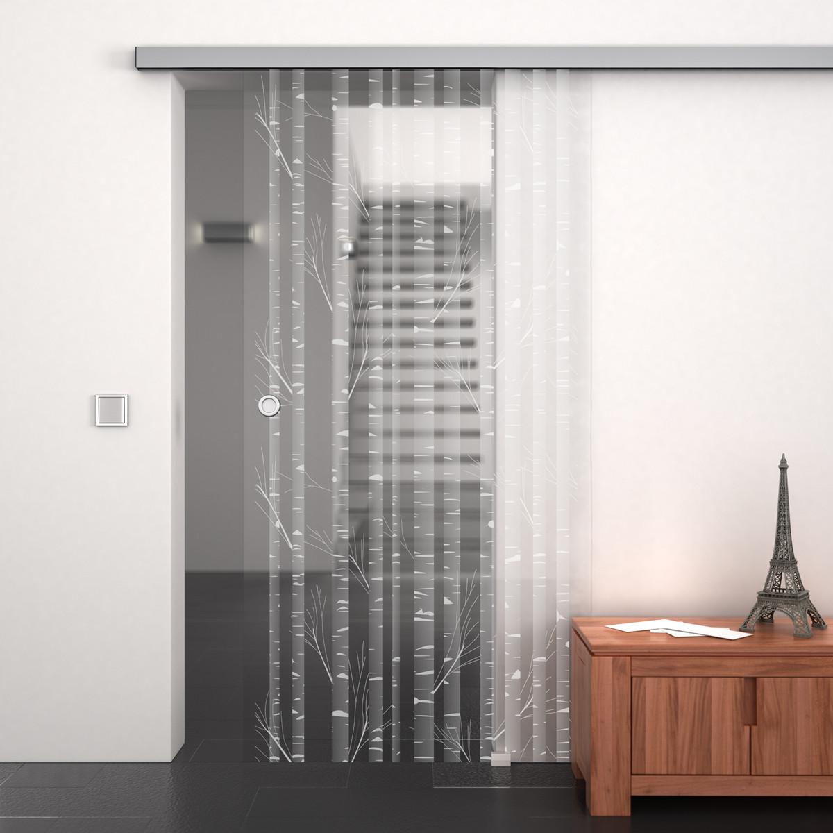 Glasschiebetür gelasert mit Motiv Bambus