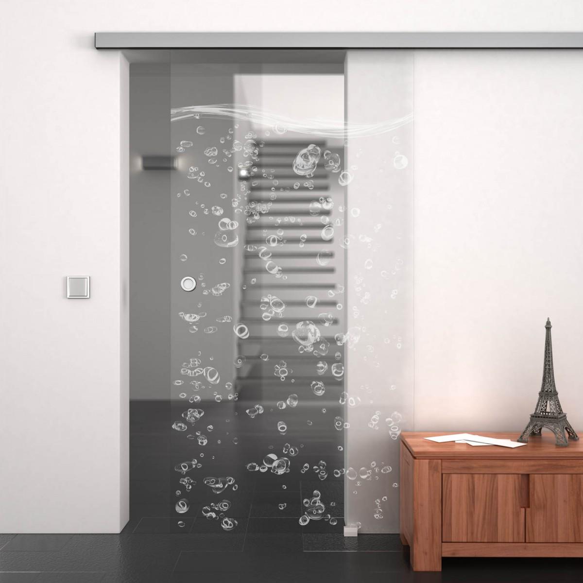 Glasschiebetür gelasert mit Motiv Bubbles