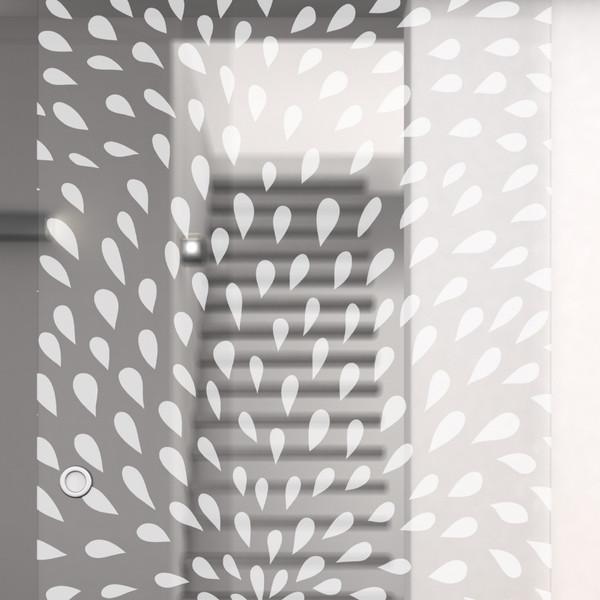 Produktbild 2 Glasschiebetür gelasert mit Motiv Coesfeld by Lionidas - Ein Meer von Tropfen tanzt bei der Glasschiebetür Coesfeld über die gesamte Glasfläche und sorgt für ein außergewöhnliches Muster.
