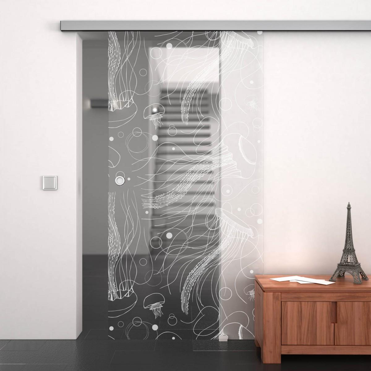 Glasschiebetür gelasert mit Motiv Jellyfish