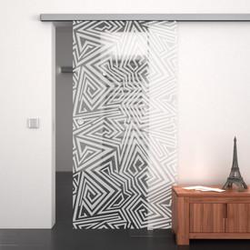 Glasschiebetür gelasert mit Motiv Labyrinth