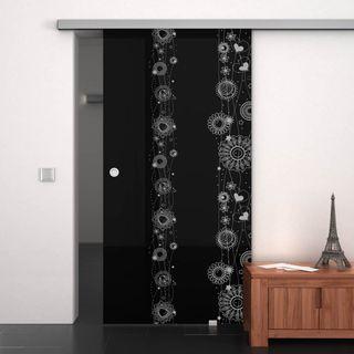 Glas-Schiebetür lackiert mit Motiv Blumenregen – Bild 1