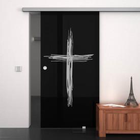 Glas-Schiebetür lackiert mit Motiv Kreuz