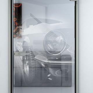 Glastür mit Motiv Car Detail