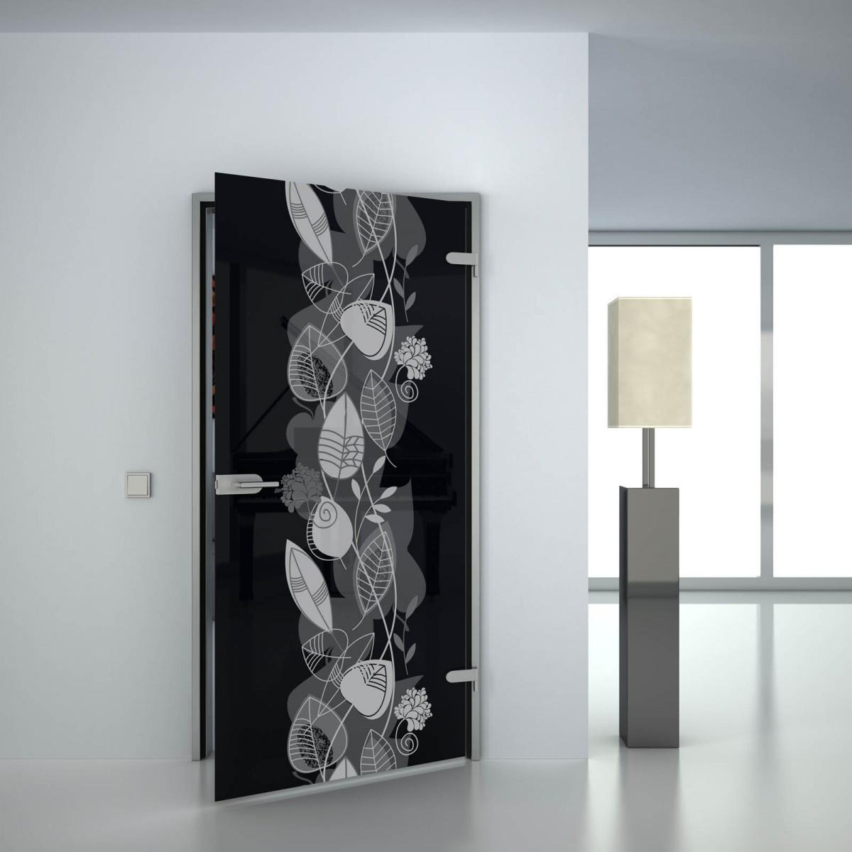 Glastür lackiert mit Motiv Blatt Swirl