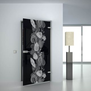 Produktbild 1 Glastür lackiert mit Motiv Blatt Swirl by Lionidas] - Ein Regen aus Blättern und Blüten ziert die schwarze Glasfläche der lackierten Glastür Blatt Swirl und bringt Ihnen die Natur näher.