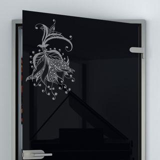 Glastür lackiert mit Motiv Blumen Detail