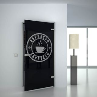 Glastür lackiert mit Lasermotiv Espresso (989707772) ab 559,00 EUR von Lionidas auf glastüren-shop.com