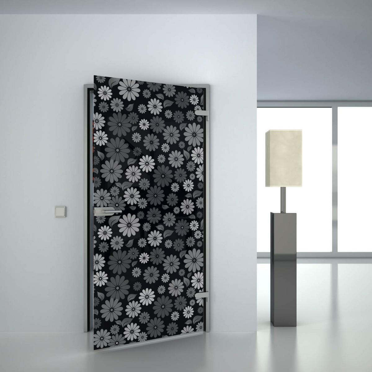 Glastür lackiert mit Motiv Flowers