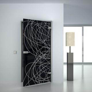 Glastür lackiert mit Lasermotiv Lines (989707815) ab 659,00 EUR von Lionidas auf glastüren-shop.com
