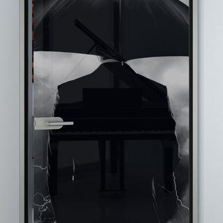 Glastür lackiert mit Motiv Rainman Detail