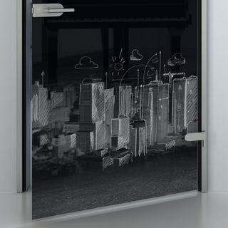 Glastür lackiert mit Motiv Skyline gezeichnet Detail