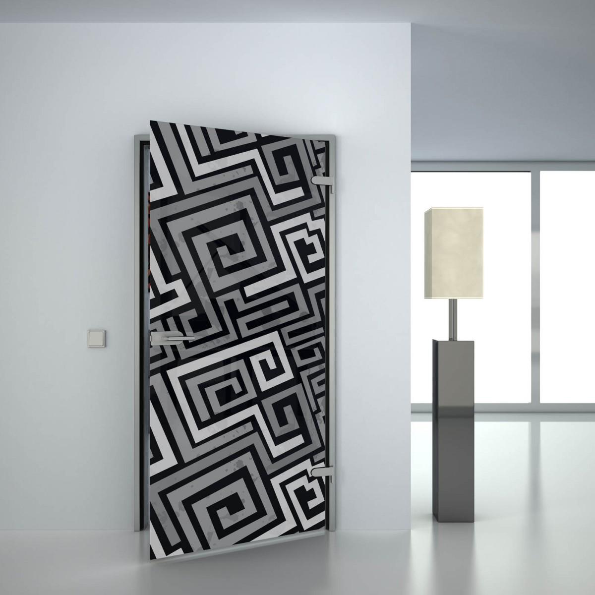 Glastür lackiert mit Motiv Squiral