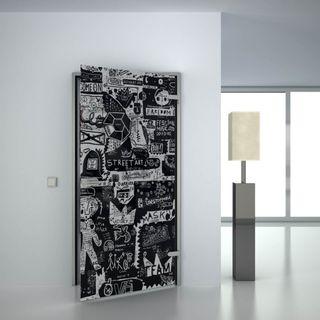 Glastür lackiert mit Lasermotiv Street Art (989707944) ab 759,00 EUR von Lionidas auf glastüren-shop.com