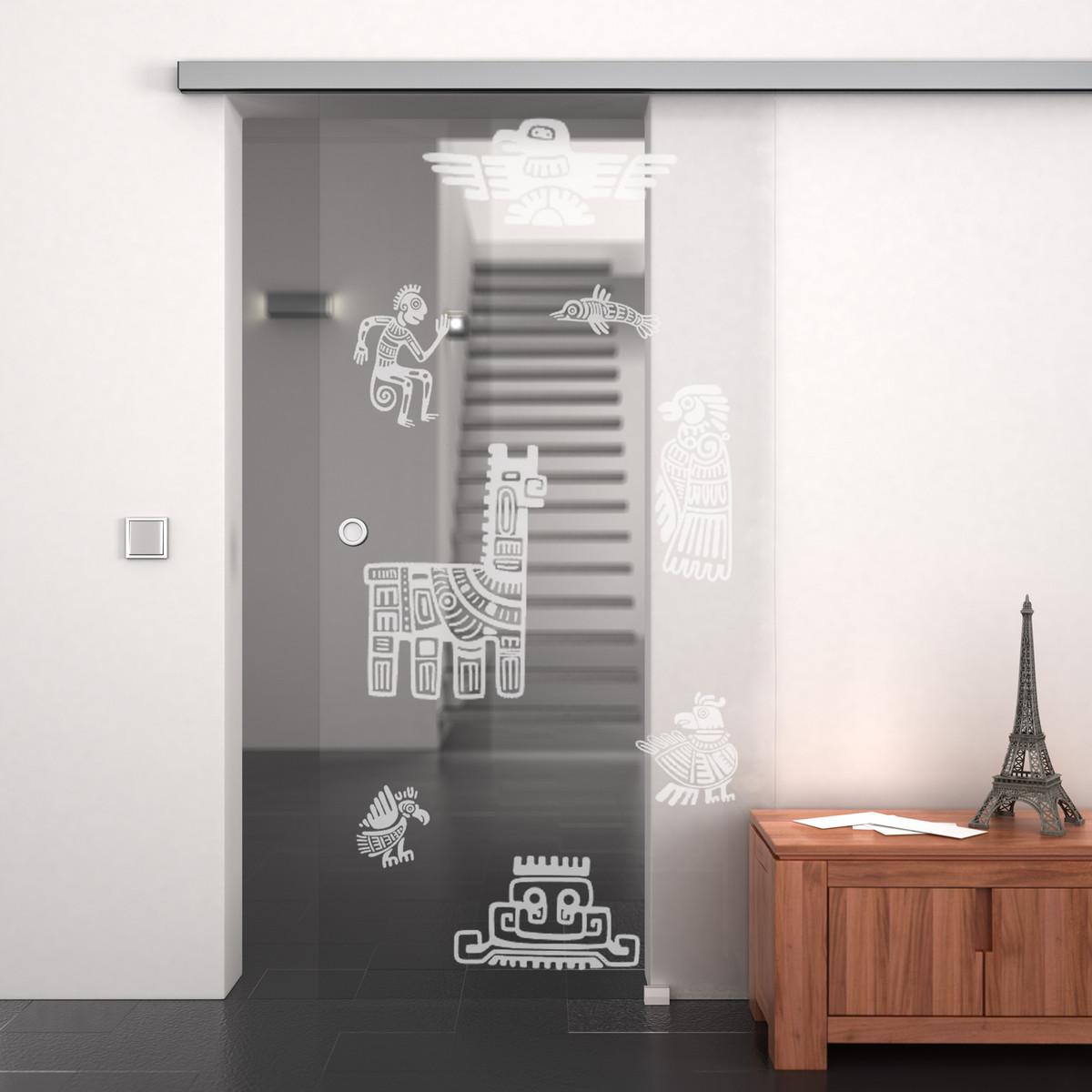 Glas-Schiebetür mit Motiv Maya