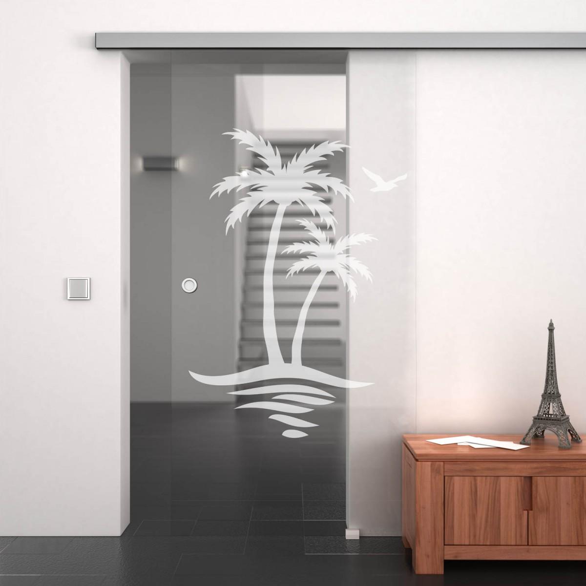 Glas-Schiebetür mit Motiv Palmen Erkelenz