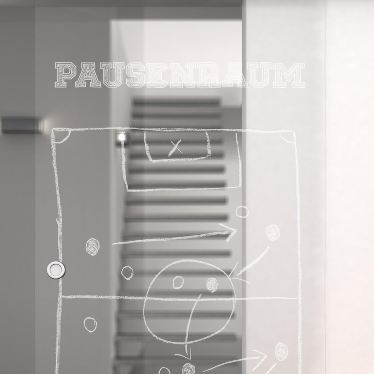 glas schiebet r mit motiv pausenraum 989708004. Black Bedroom Furniture Sets. Home Design Ideas