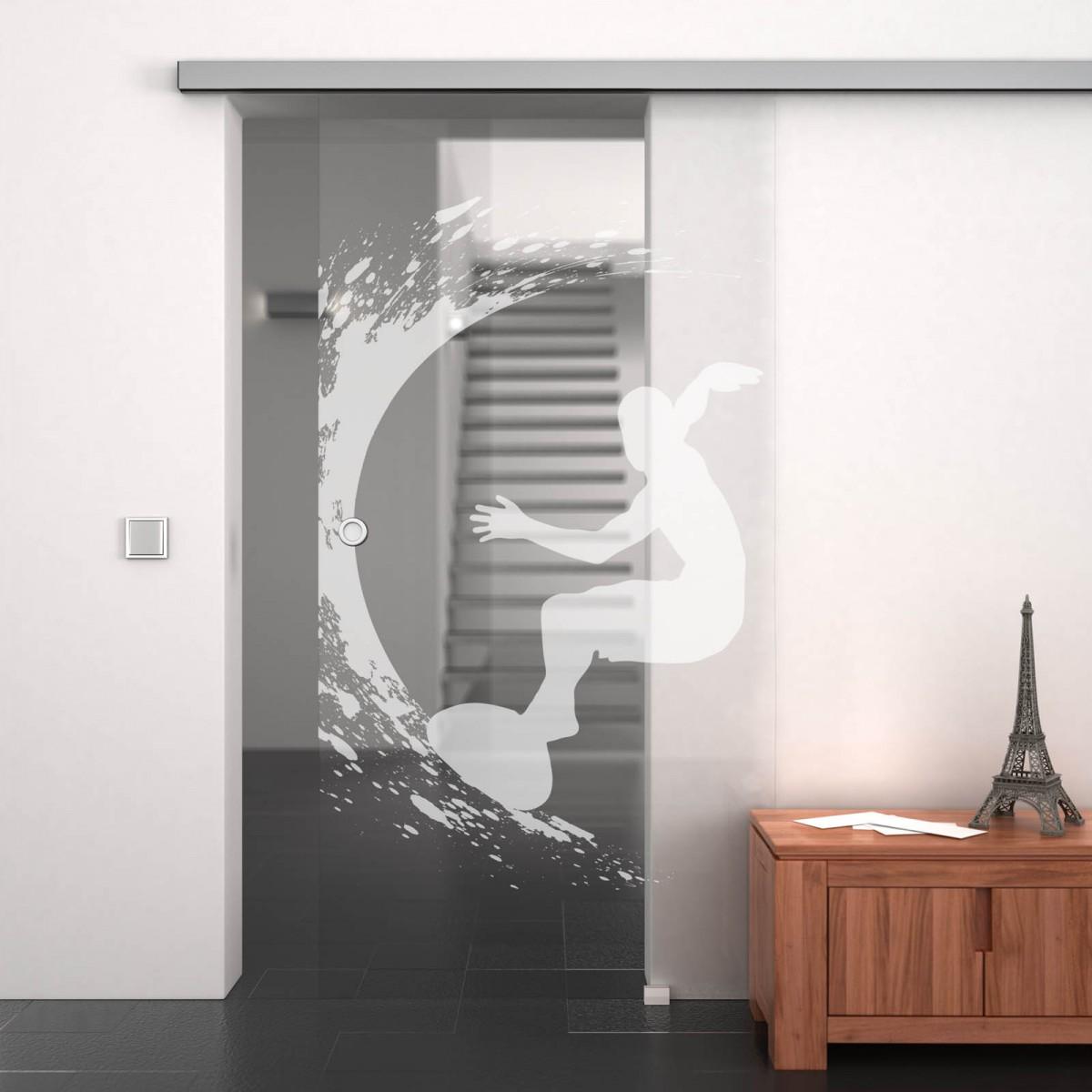 glasschiebet r gelasert mit motiv surfer 989708054. Black Bedroom Furniture Sets. Home Design Ideas