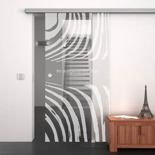 Glasschiebetür gelasert mit Motiv Zebra anpassbar (989708087) ab 649,00 EUR von Lionidas auf glastüren-shop.com