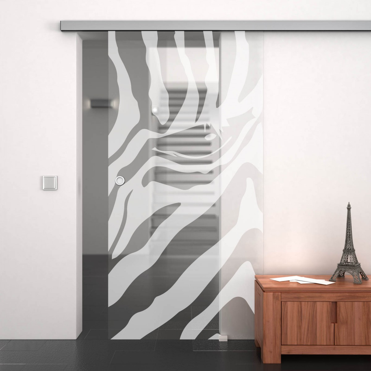 glas schiebet r mit motiv zebra auge 989708088. Black Bedroom Furniture Sets. Home Design Ideas