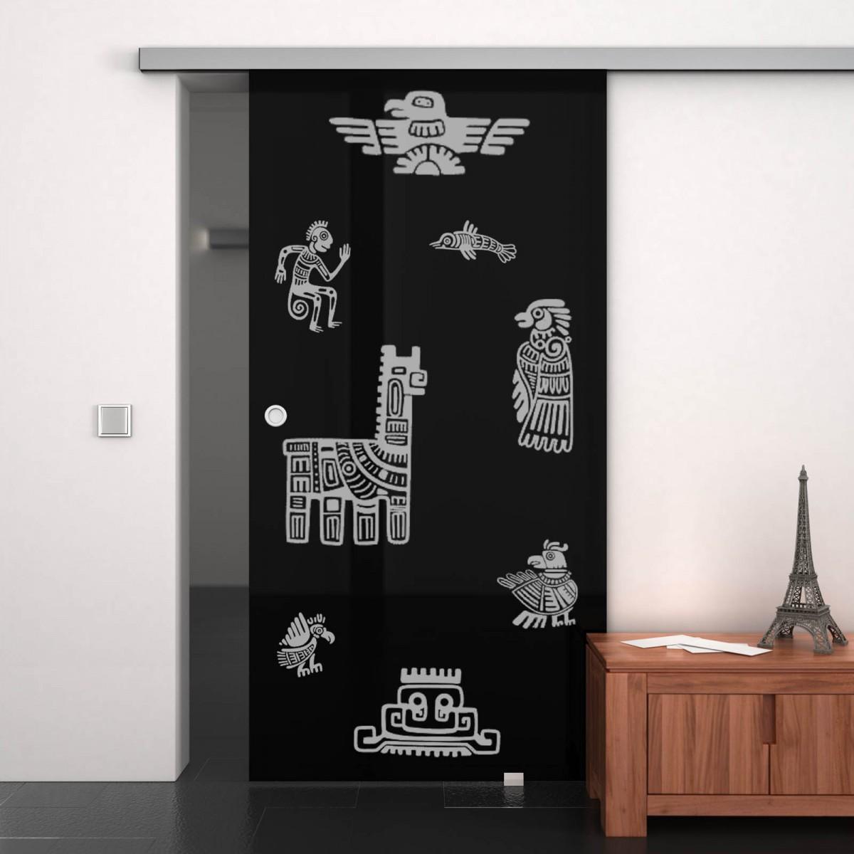 Glas-Schiebetür lackiert mit Motiv Maya