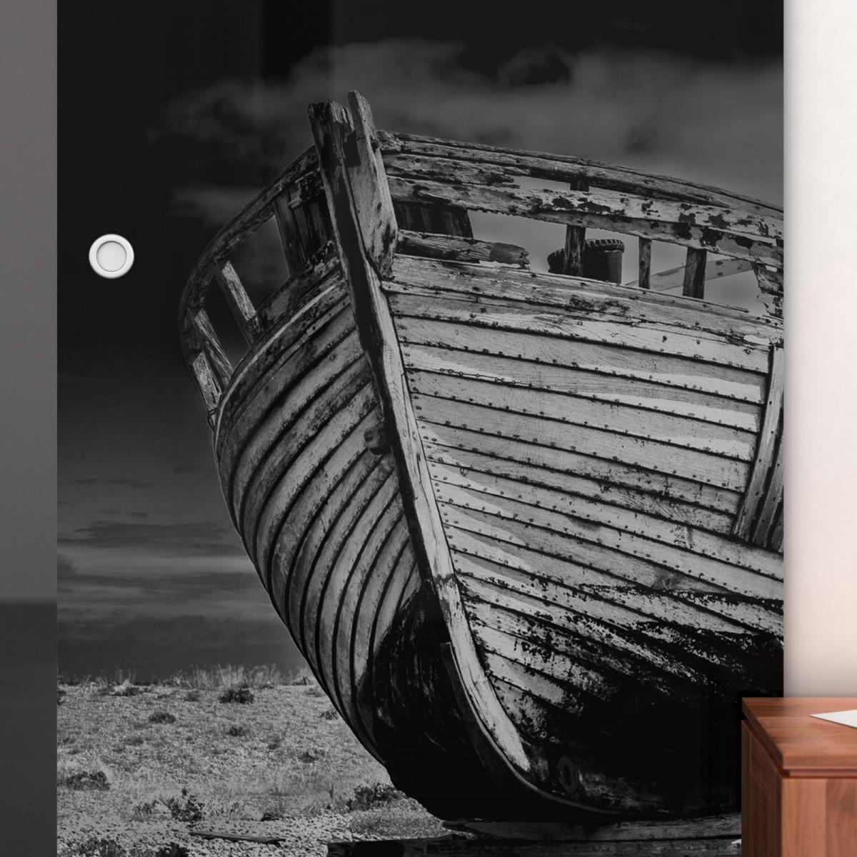 glas schiebet r lackiert mit motiv ship 989708147. Black Bedroom Furniture Sets. Home Design Ideas