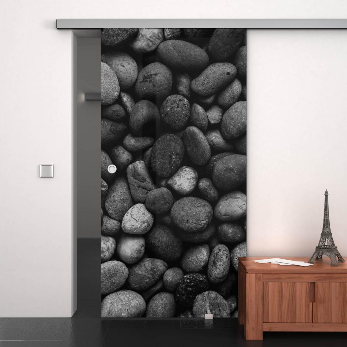 Glas-Schiebetür lackiert mit Motiv Stones