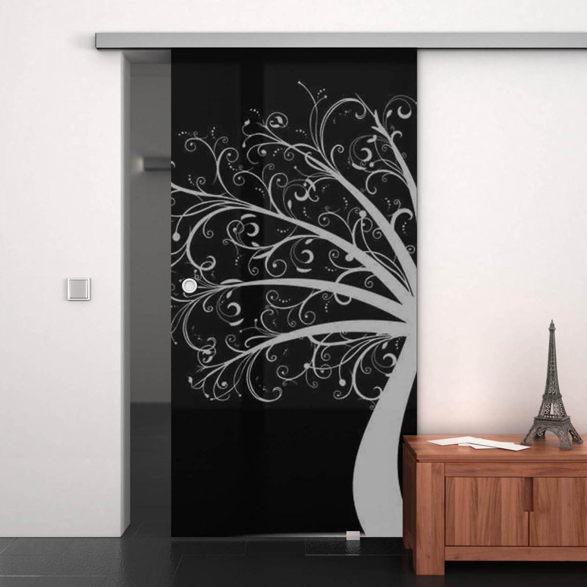 glas schiebet r lackiert mit motiv tree of art 989708177. Black Bedroom Furniture Sets. Home Design Ideas