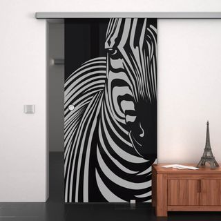 glas schiebet r lackiert mit motiv zebra 989708197. Black Bedroom Furniture Sets. Home Design Ideas