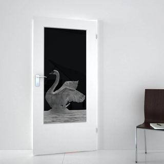 Lichtausschnitt lackiert mit Lasermotiv Schwan (989708384) ab 378,00 EUR von Lionidas auf glastüren-shop.com