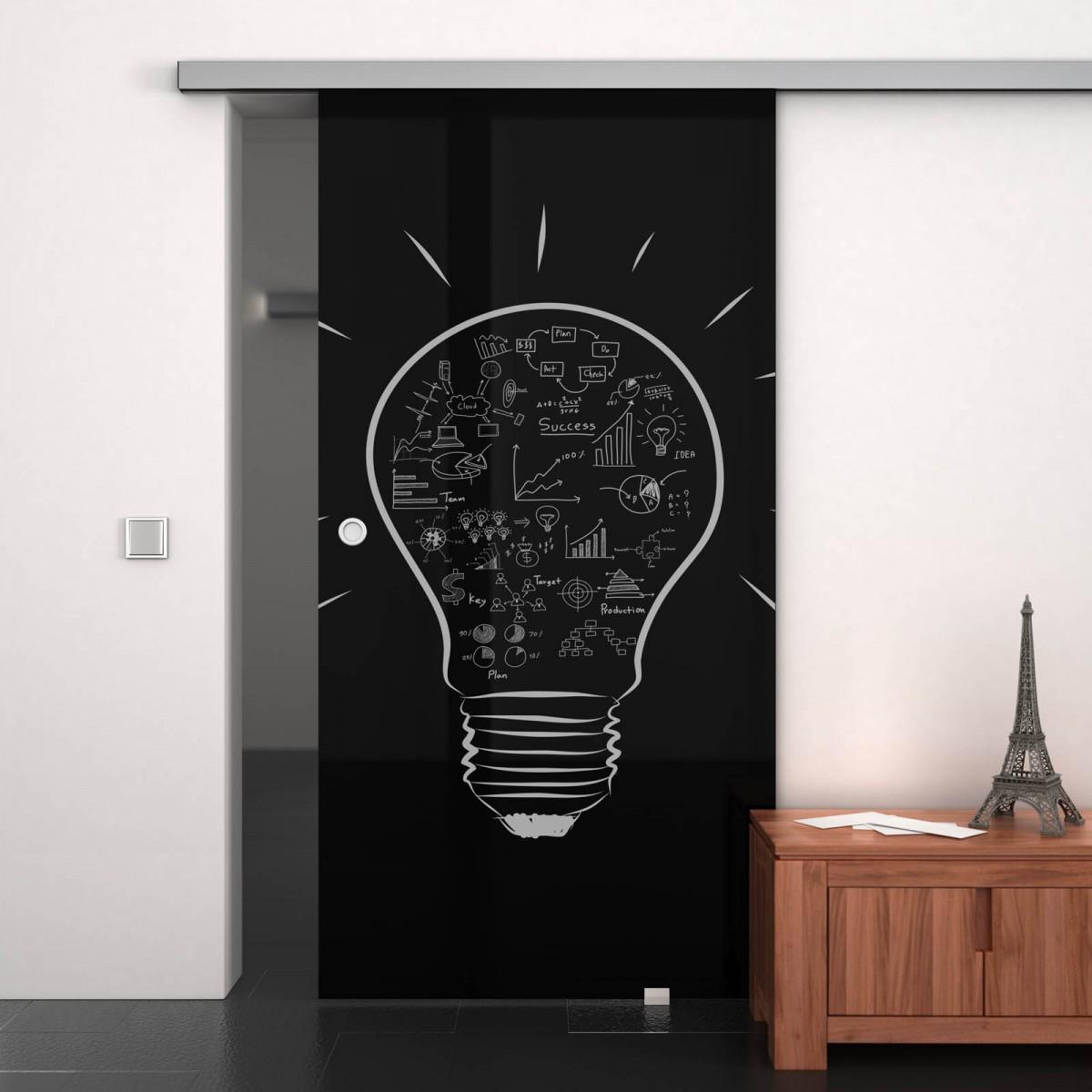 Glas-Schiebetür lackiert mit Motiv Kreative Idee