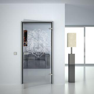 Glastür gelasert mit Motiv Einstein (989708487) ab 359,00 EUR von Lionidas auf glastüren-shop.com