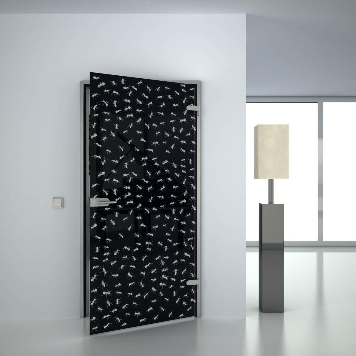 Glastür lackiert mit Motiv Ameisen