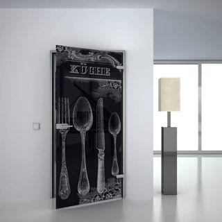 Glastür lackiert mit Lasermotiv Retro Küche (989708511) ab 659,00 EUR von Lionidas auf glastüren-shop.com