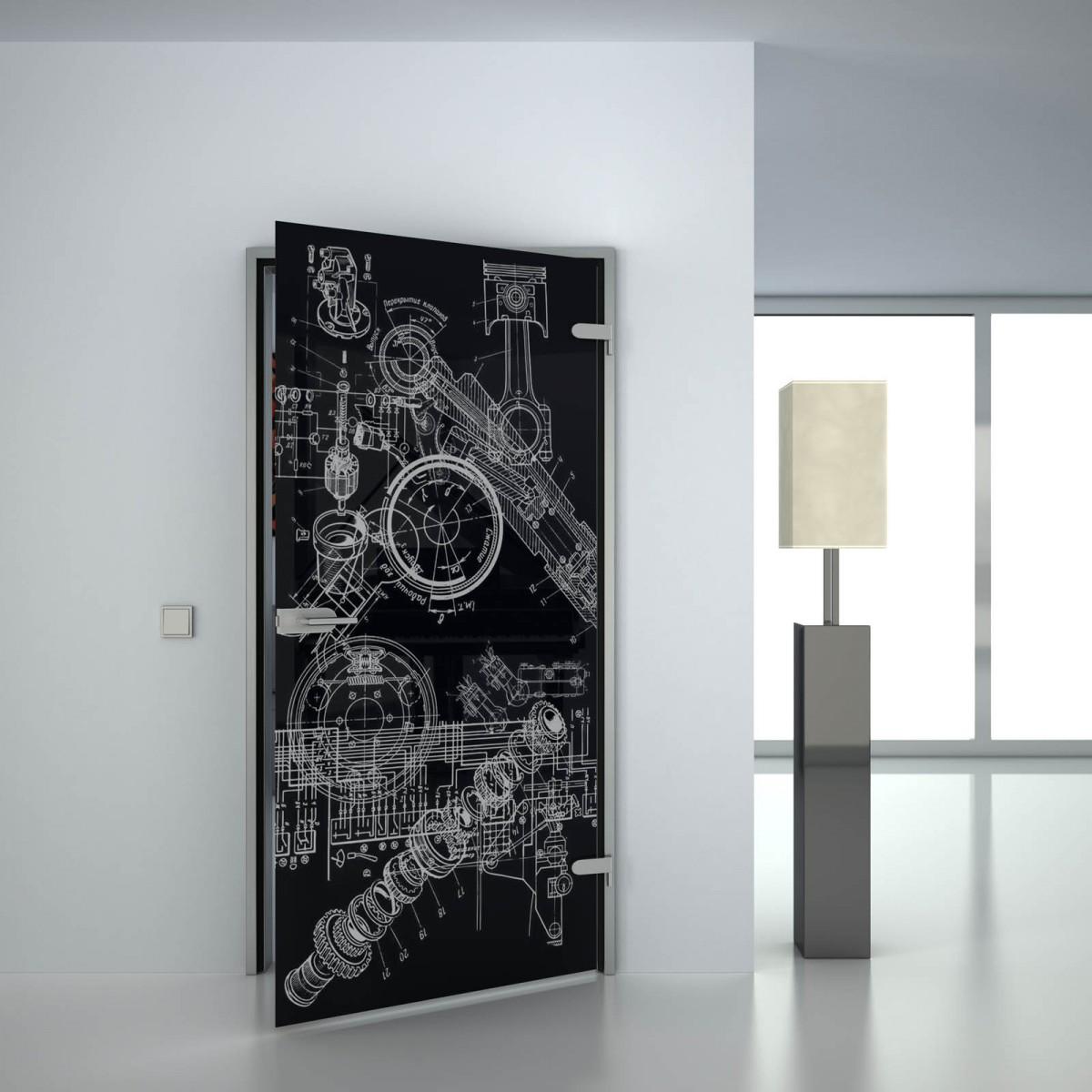 Glastür lackiert mit Lasermotiv Technisch