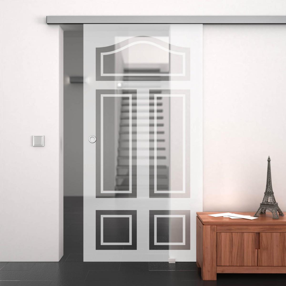 glasschiebet r satiniert mit motiv altbau 989708519. Black Bedroom Furniture Sets. Home Design Ideas