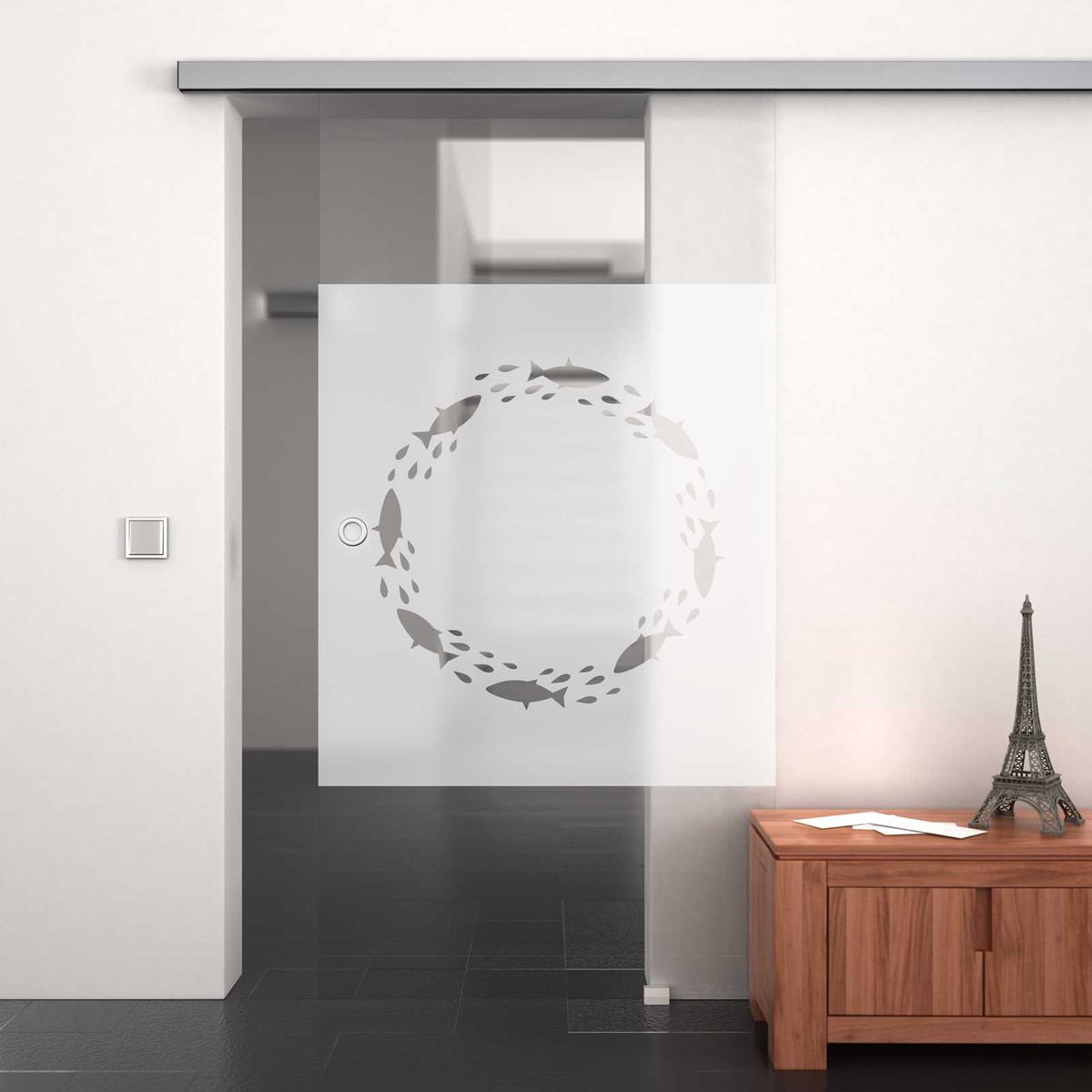 Glasschiebetür satiniert mit Motiv Höxter