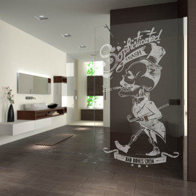 Walk In Dusche gelasert mit Motiv Bad Bones