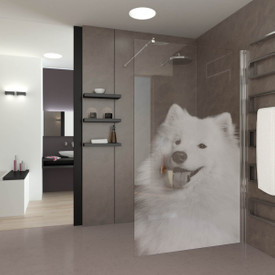 Walk In Dusche gelasert mit Motiv Bello