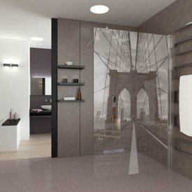 Walk In Dusche gelasert mit Motiv Brooklyn Bridge
