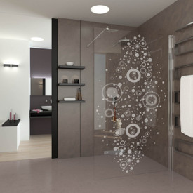 Walk In Dusche gelasert mit Motiv Circle and Dots