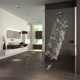 Walk In Dusche gelasert mit Motiv Creativity