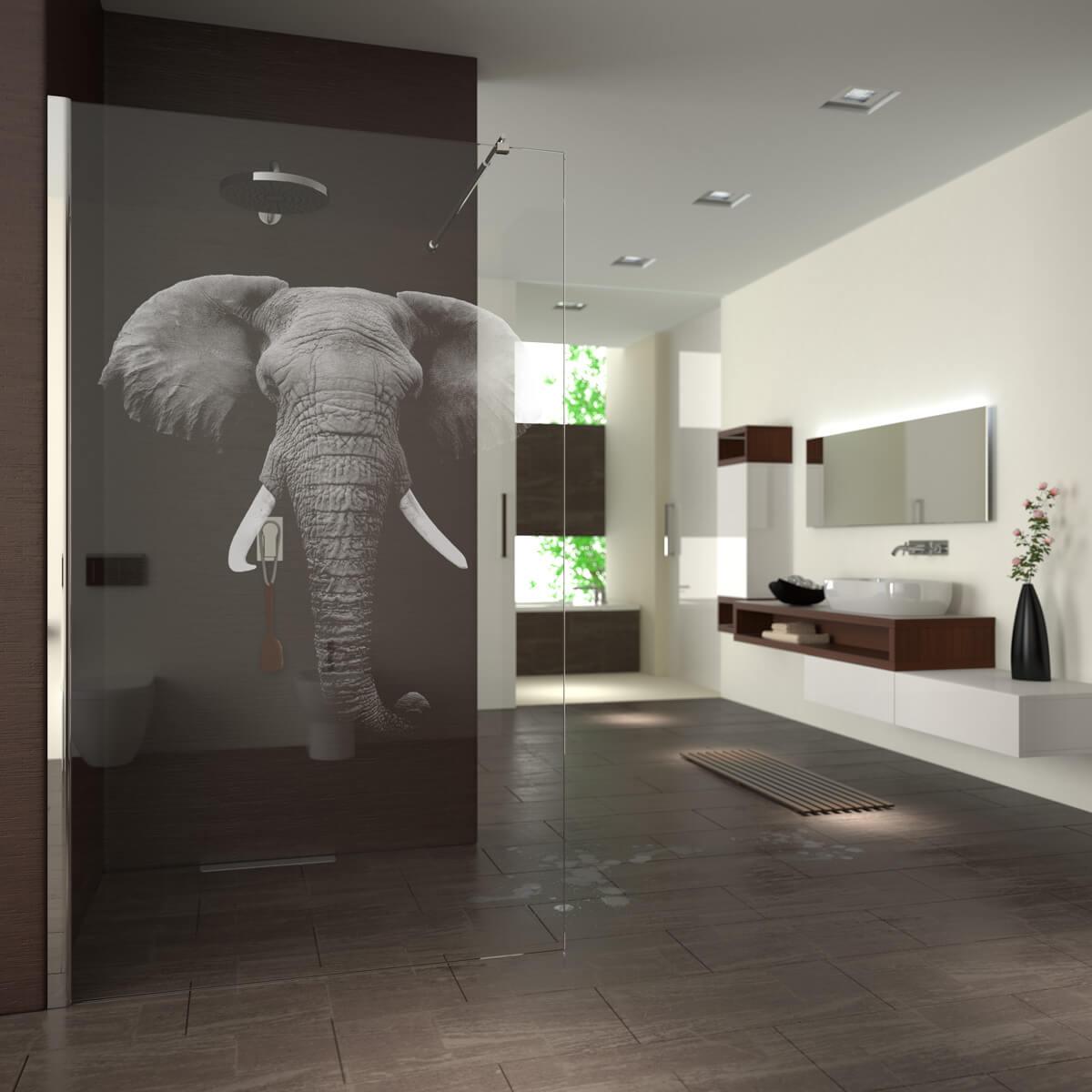 walk in dusche gelasert mit motiv elefant 989708654. Black Bedroom Furniture Sets. Home Design Ideas