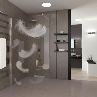 Walk In Dusche gelasert mit Motiv Fallende Federn – Bild 2